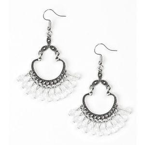 White Beaded Silver Studded Frame Dangle Earrings